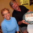Radeen from Island Spirit and Alan from Flatlander celebrate birthdays at Spanish Cay Bahamas