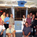 The Bahamas Fleet 2012: L-R: Larry and Phyllis; Hayden and Radeen; Caery and Bobbi; Tom and Carey; Patricia and Eric; Kathy and Alan. Island Packet Owners at Spanish Cay Marina, Bahamas