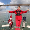 Judith enjoying the first sail - Happy!